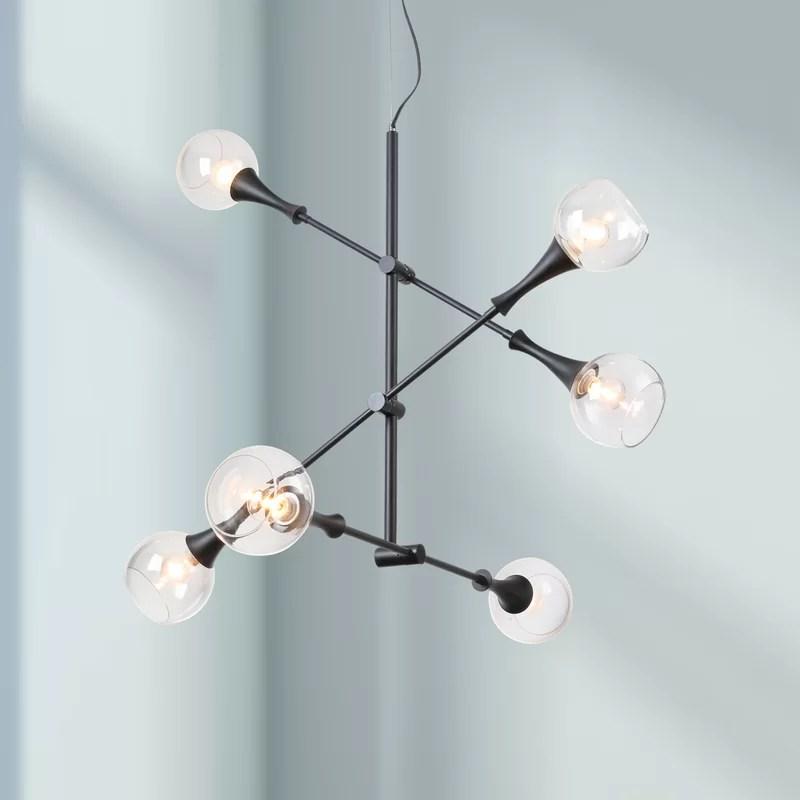 rolf 6 light sputnik modern linear chandelier