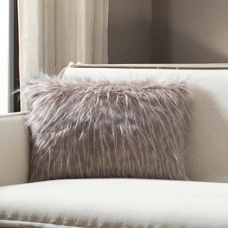 Union Rustic Tani Feather Faux Fur Lumbar Pillow Cover Reviews Wayfair
