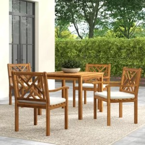 Teak Patio Dining Sets You ll Love   Wayfair Teak Patio Dining Sets