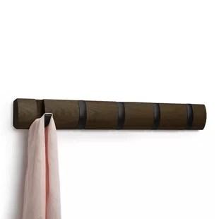 flip solid wood 5 hook wall mounted coat rack
