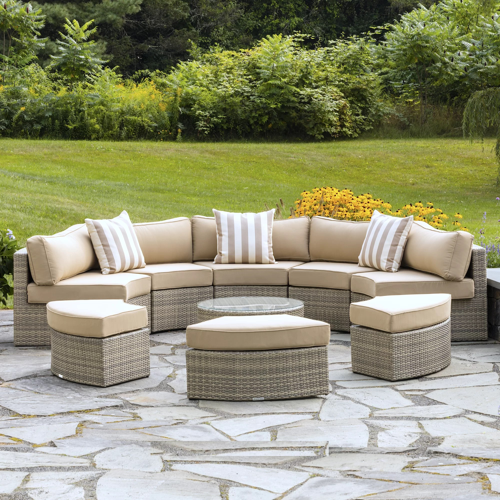 santorini 5 piece rattan sectional seating group with cushions