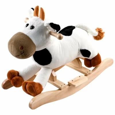 plush cow rocking horse