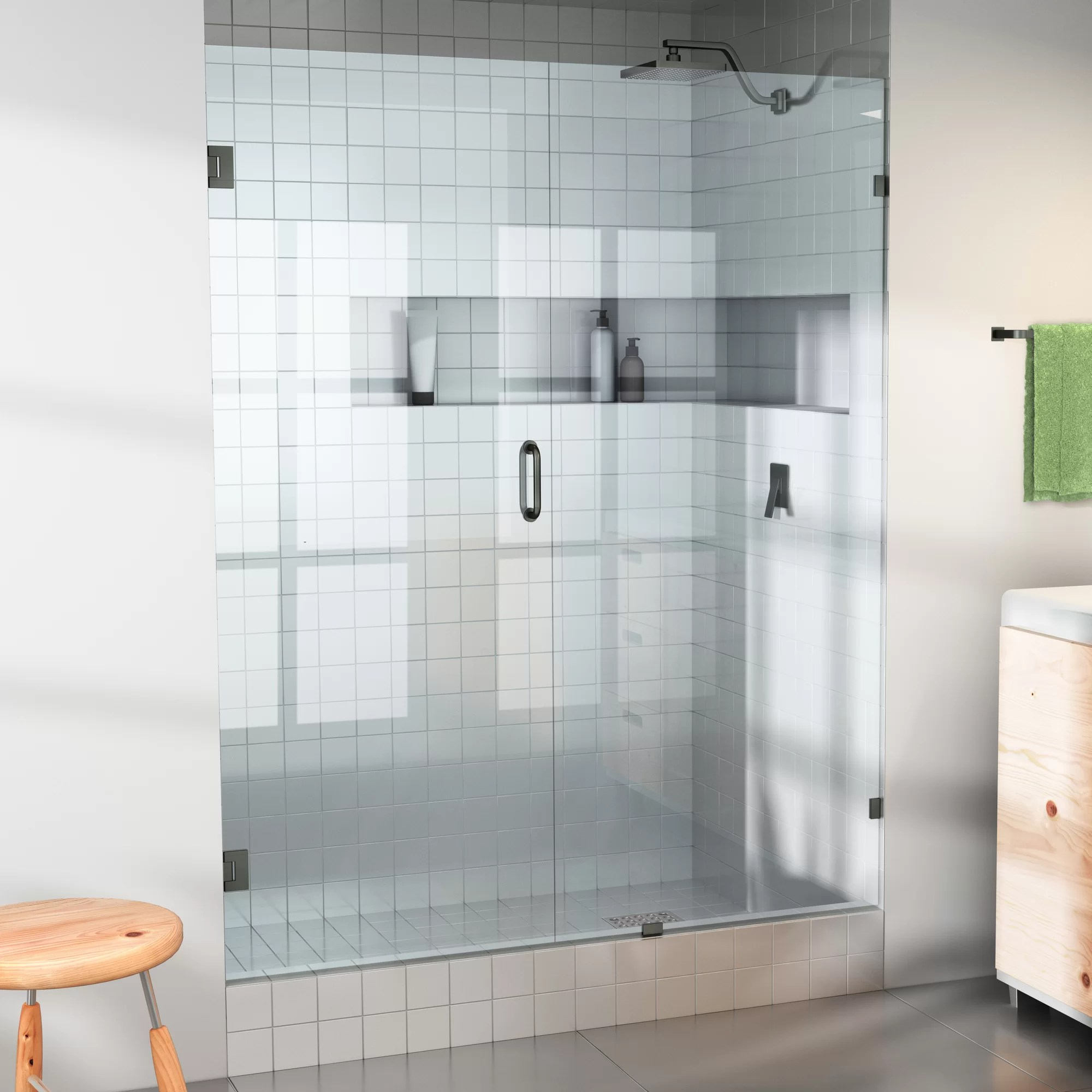 Details About Glass Warehouse 33 X 78 Hinged Frameless Shower Door Oil Rubbed Bronze