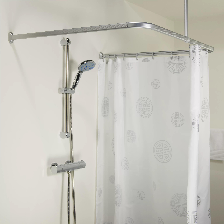 Beautiful Shower Curtain Rail Hooks Contemporary - Bathroom with ...