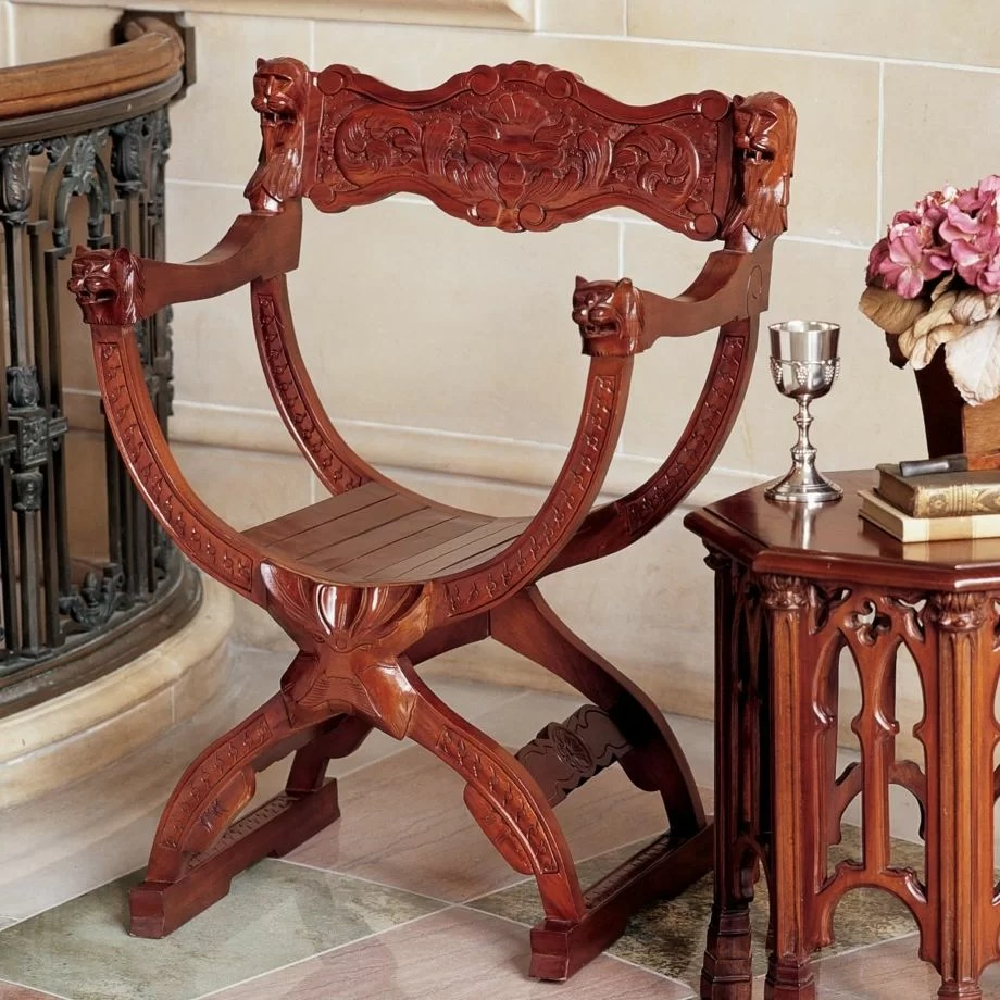 Design Toscano Medieval Cross Frame Arm Chair Amp Reviews