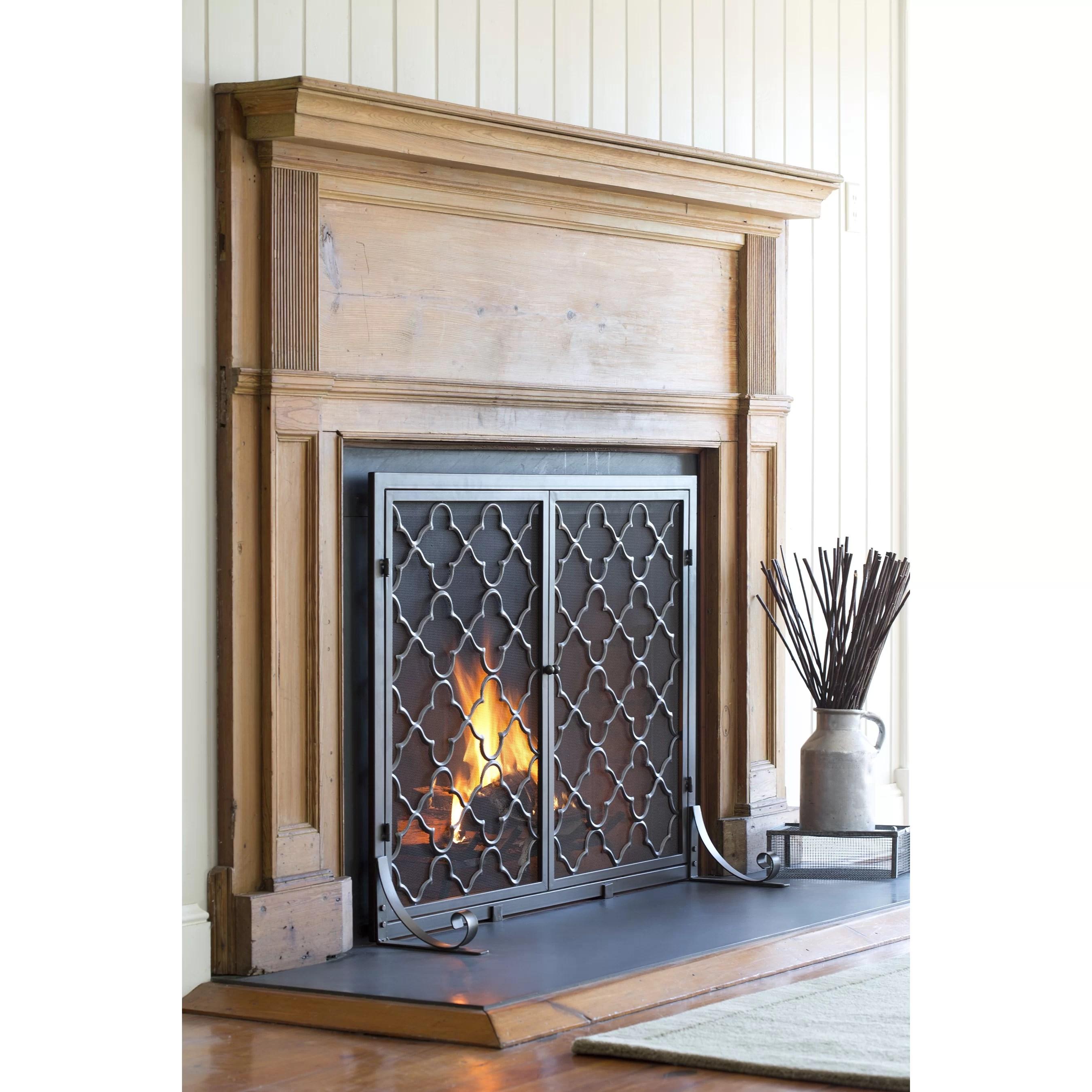 Plow Amp Hearth Single Panel Geometric Fireplace Screen