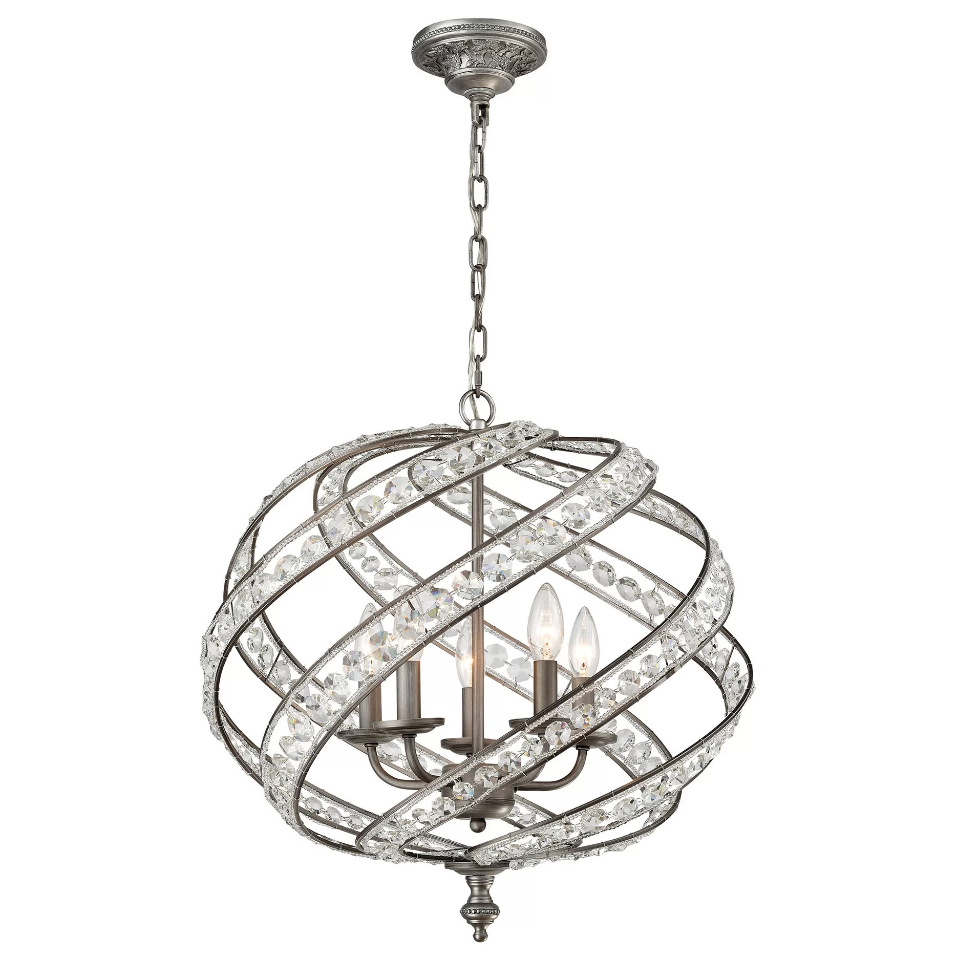Astoria Grand Schwerin 5 Light Crystal Chandelier