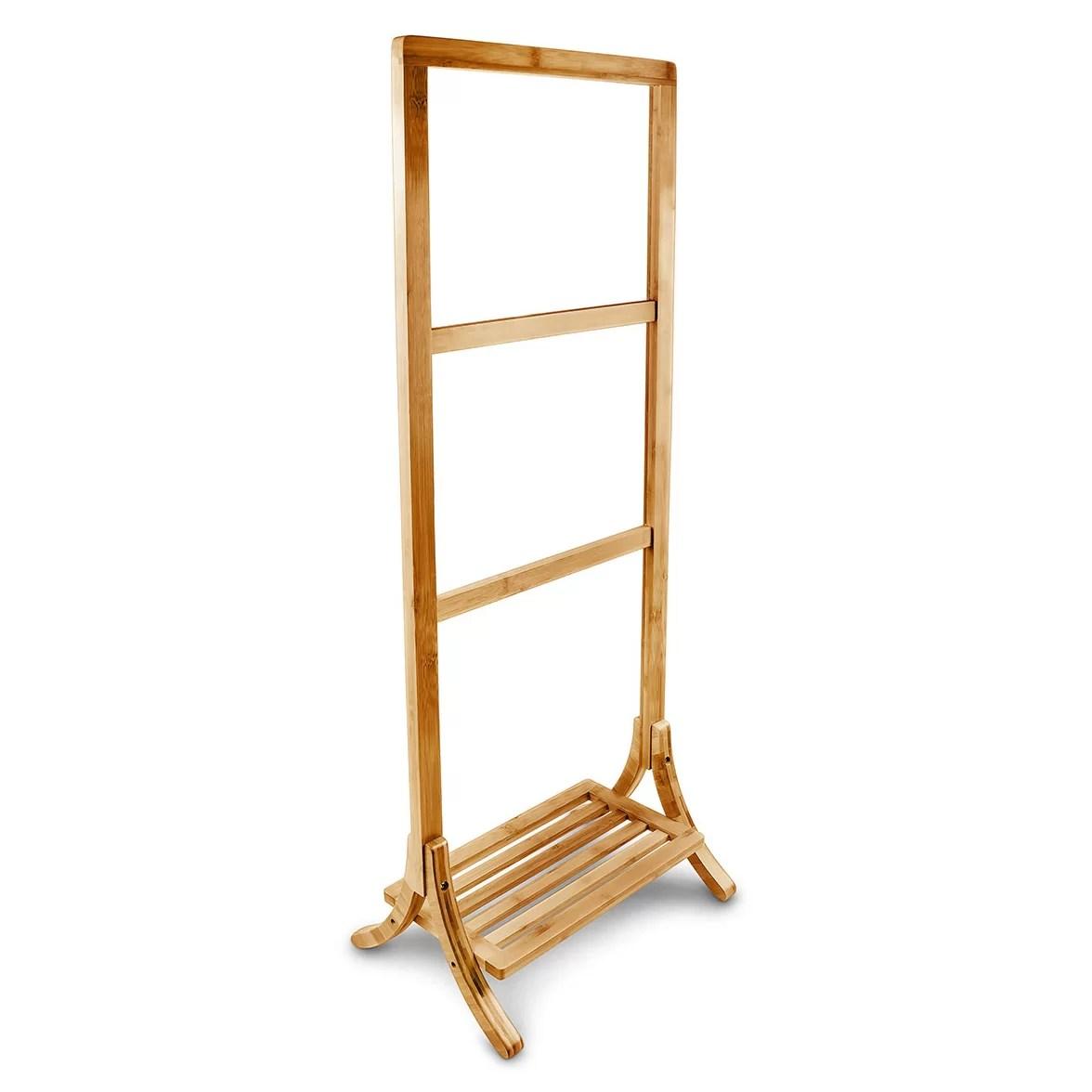 Belfry Bamboo Free Standing Towel Rack Wayfair UK
