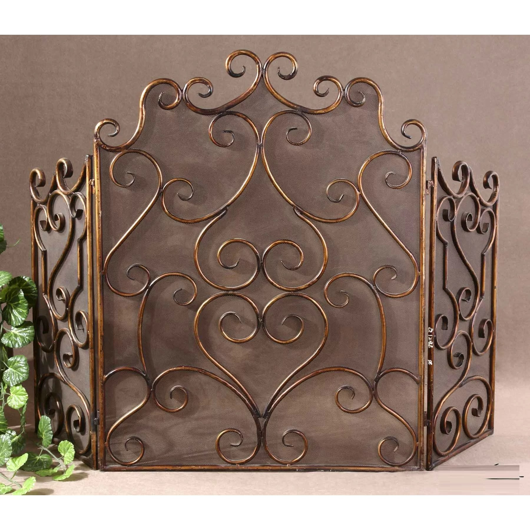 Uttermost Kora 3 Panel Metal Fireplace Screen Amp Reviews