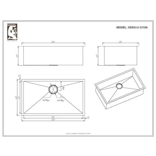 33x19 Single Bowl Kitchen Sink