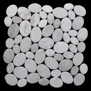 Coin Random Sized Natural Stone Pebble Tile in White