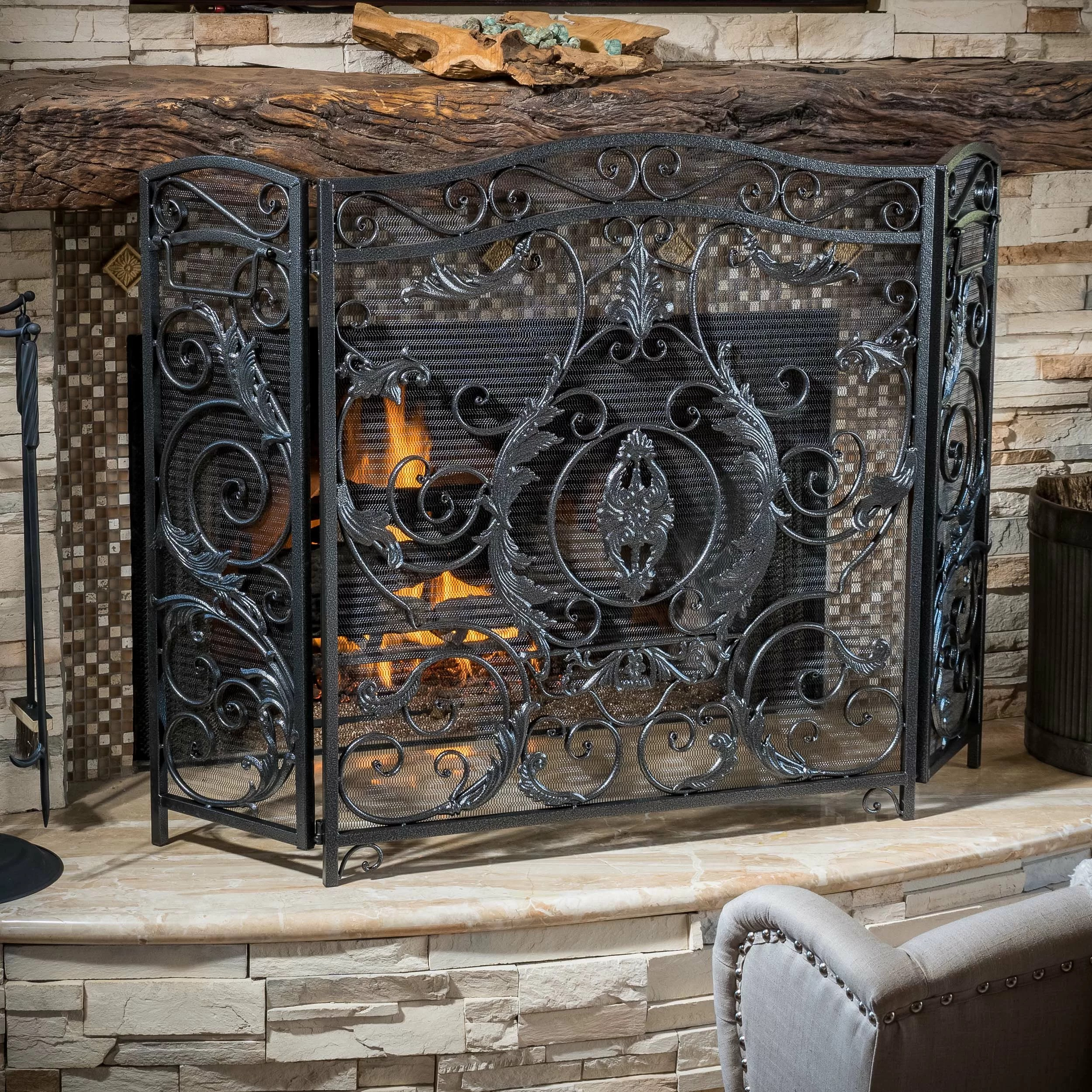 Home Loft Concepts Hayward 3 Panel Iron Fireplace Screen