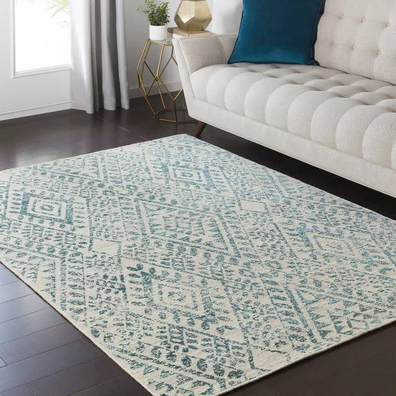 Bungalow Rose Puran TealCream Area Rug Amp Reviews Wayfair
