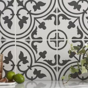 Moroccan Tile Floor   Wayfair Artea 9 75  x 9 75  Porcelain Field Tile in Black White