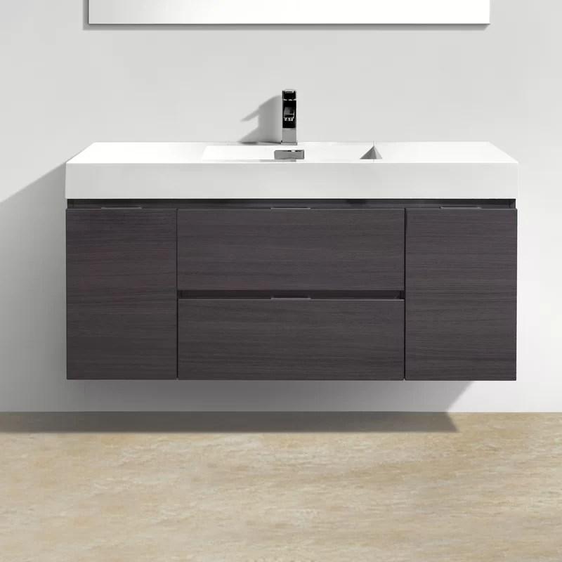 """wade logan tenafly 48"""" single wall mount modern bathroom vanity"""