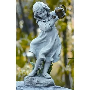 Garden Statues   Sculptures You ll Love   Wayfair Girl with Watering Can Statue