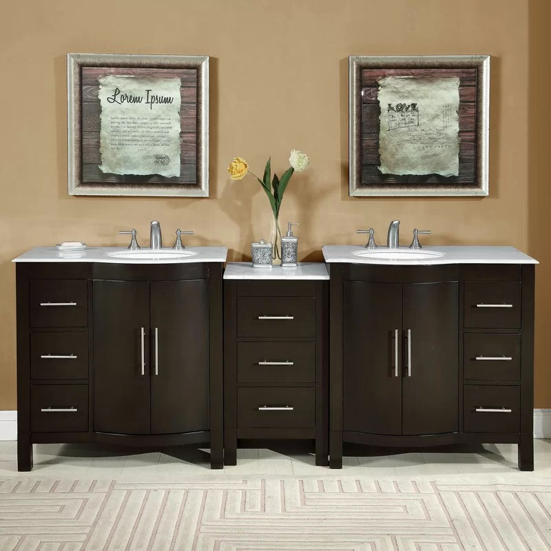 "silkroad exclusive 89"" double lavatory sink cabinet bathroom"