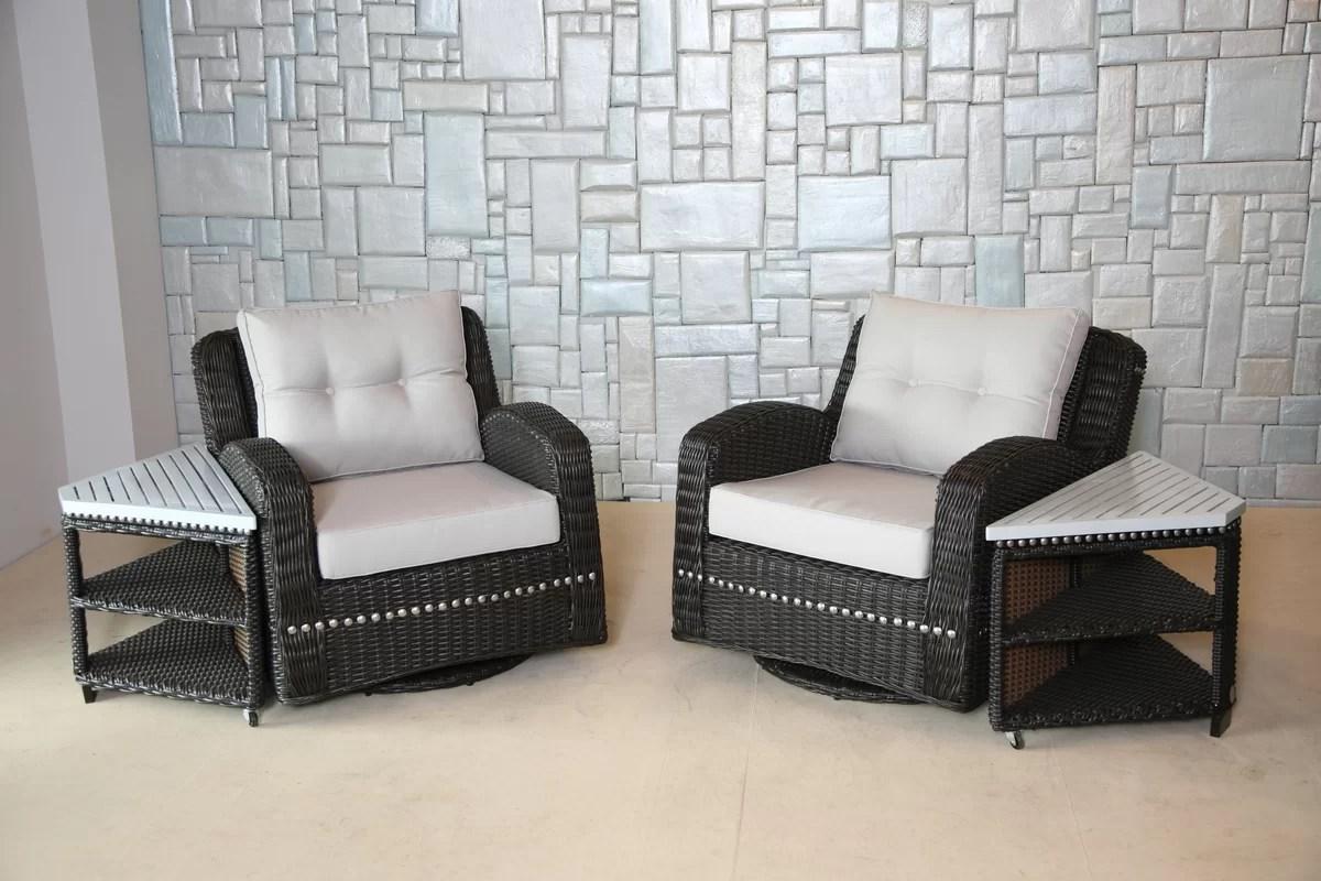 Wicked Wicker Mishka Wicker Swivel Club Chair With Cushion