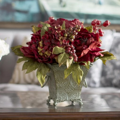 Astoria Grand Peony and Hydrangea Silk Flower Arrangement in Rustic     Peony and Hydrangea Silk Flower Arrangement in Rustic Green Bucket