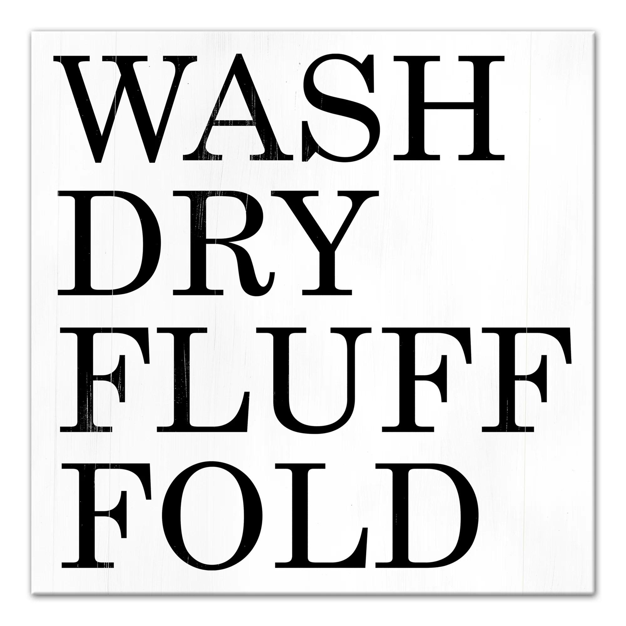 Jaxn Wash Dry Fluff Fold Framed Textual Art On Canvas