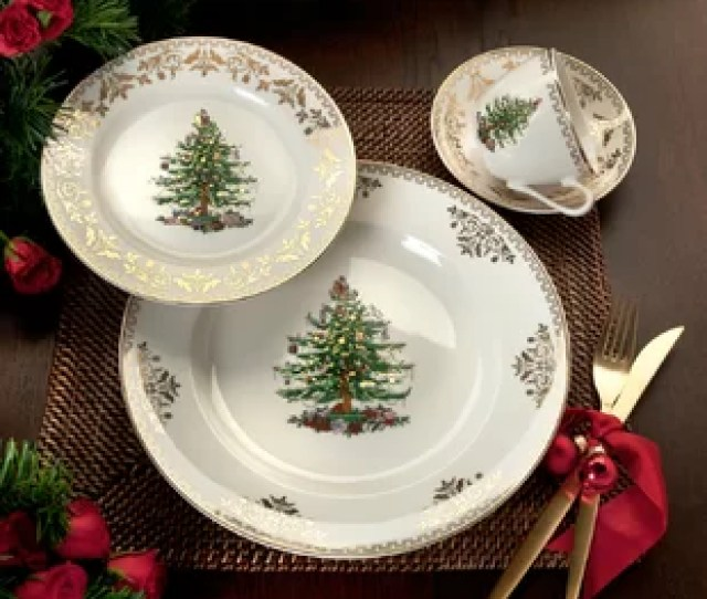 Christmas Tree Gold  Piece Place Setting Service For  By Spode