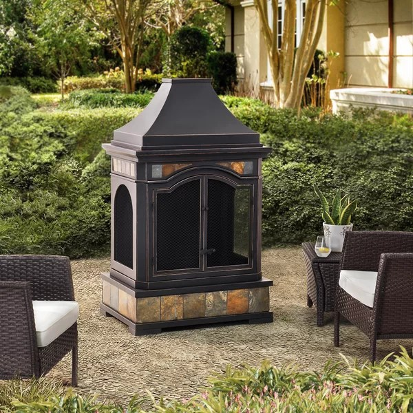Sunjoy Monroe Steel Wood Burning Outdoor Fireplace Wayfair