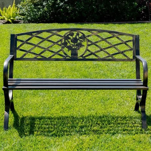 Belleze Outdoor Metal Park Bench Amp Reviews Wayfair