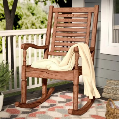 Loon Peak Imene Solid Acacia Wood Patio Rocking Chair   Birch Lane Imene Solid Acacia Wood Patio Rocking Chair