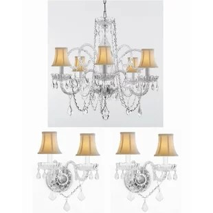 Merritt 3 Piece Crystal Chandelier And Wall Sconces Lighting Set