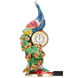 Small Decorative Table Clocks   Wayfair Peacock Decorative Box and Table Clock