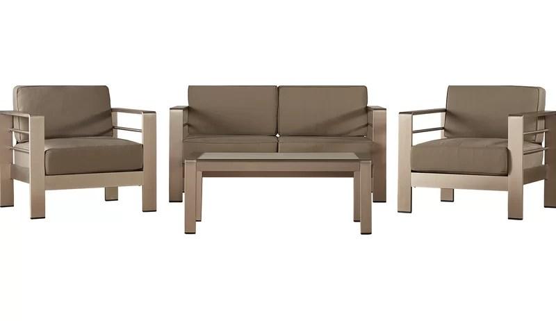 Wade Logan Durbin 4 Piece Sunbrella Sofa Set With Cushions