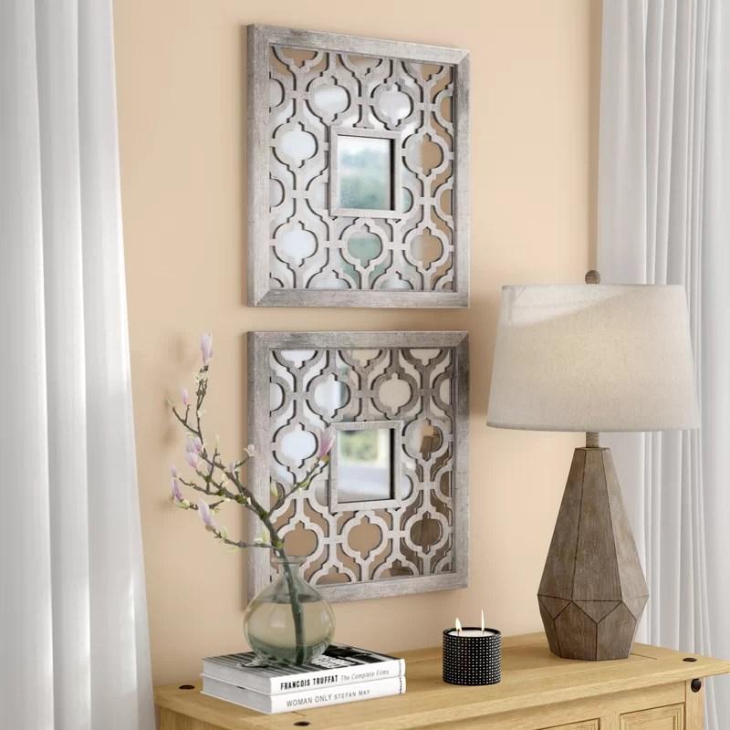 Uptal Square Silver Leaf Wall Mirror Amp Reviews Birch Lane