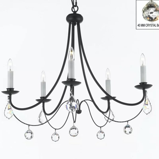 Clemence 5 Light Black Candle Style Chandelier With Chain And Wire