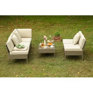 Rattan French Bistro Chairs   Wayfair Viramontes 6 Piece Rattan Sofa Set with Cushions