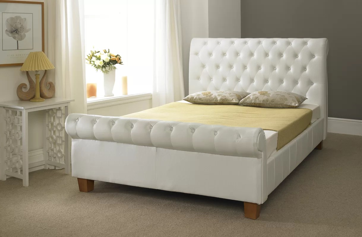 Home & Haus Franco Upholstered Sleigh Bed & Reviews
