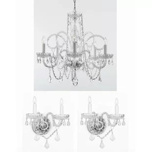 Shepard 3 Piece Crystal Chandelier And Wall Sconces Lighting Set