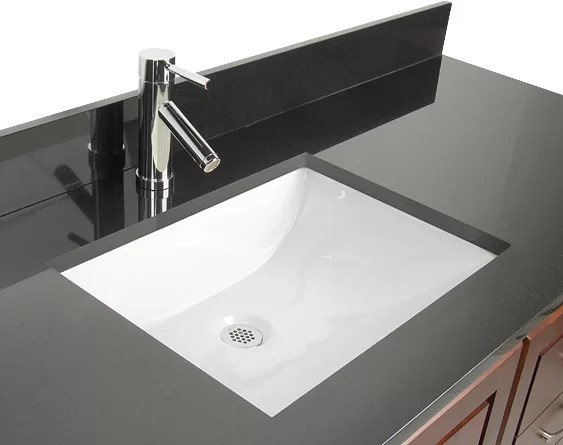d'vontz ceramic rectangular undermount bathroom sink with overflow
