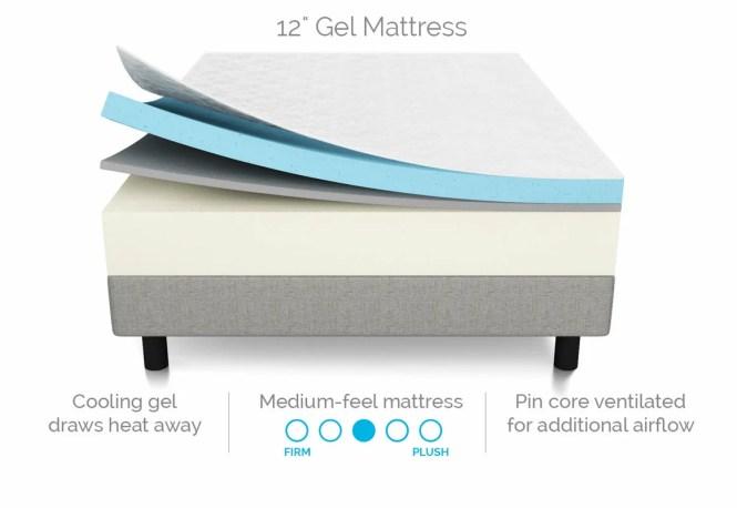 12 Plush Gel Memory Foam Mattress