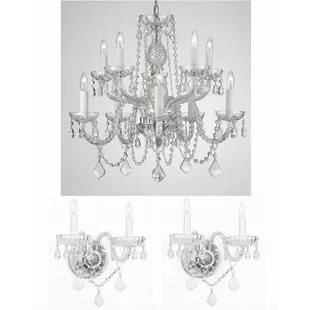 Lippert 3 Piece Crystal Chandelier And Wall Sconce Set