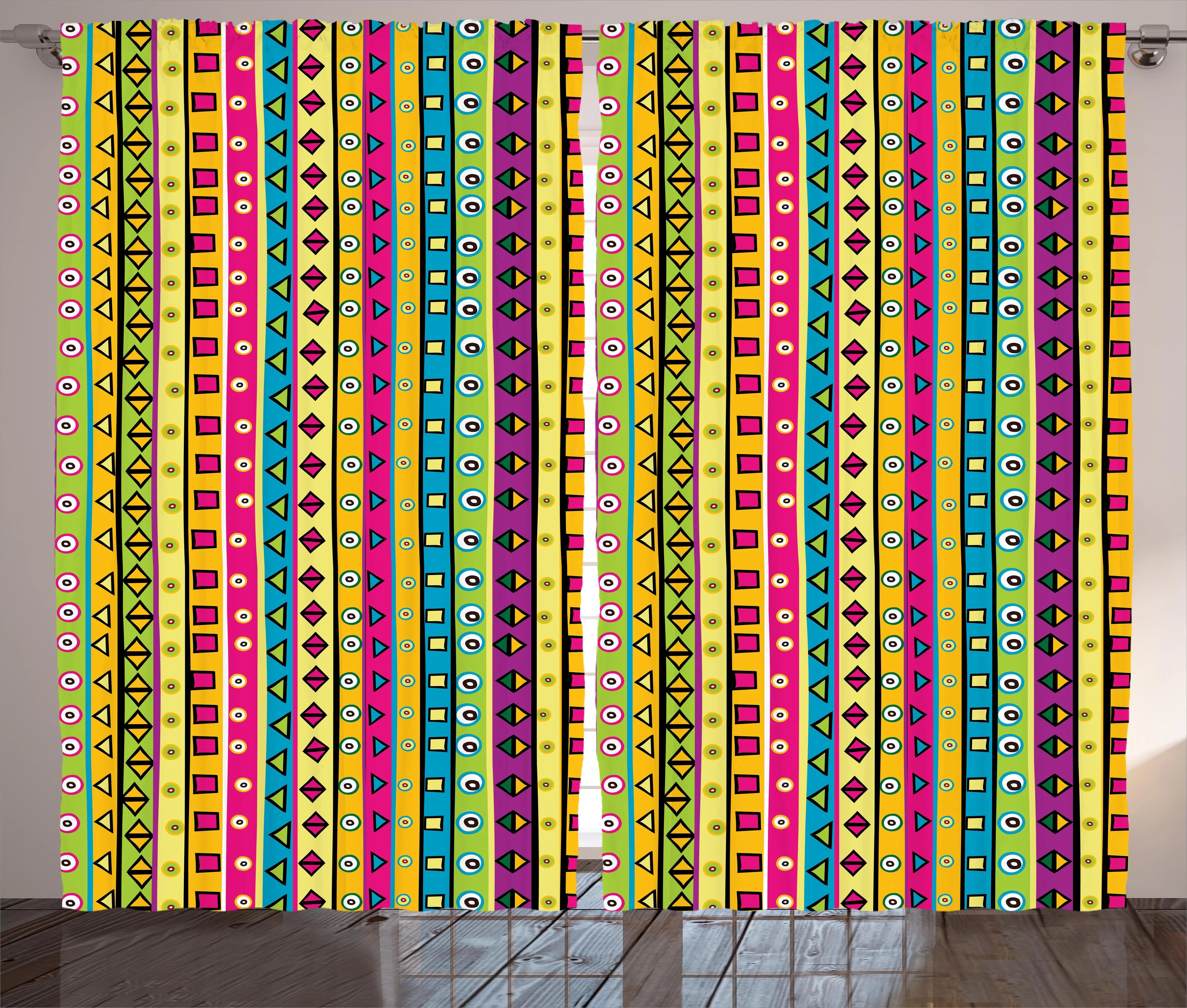 Bloomsbury Market Windridge Colorful Striped Abstract Pattern Triangles Squares And Kaleidoscope
