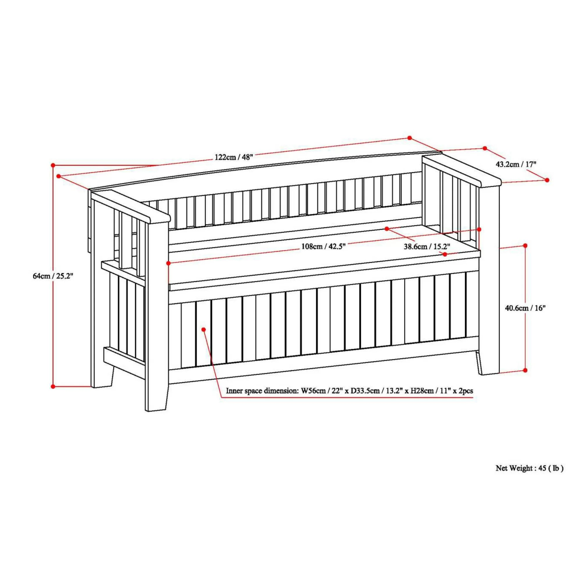 Simpli Home Acadian Two Seat Storage Entryway Bench