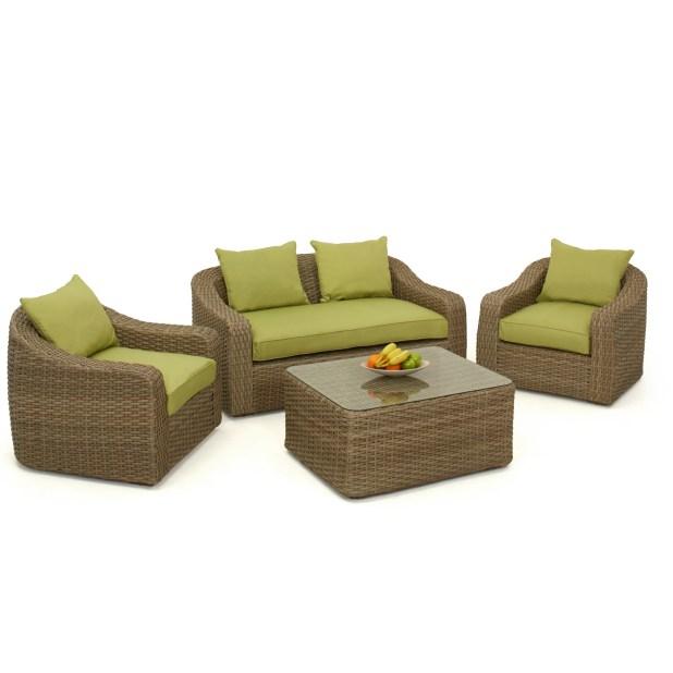 milan 4pc outdoor rattan garden furniture sofa set
