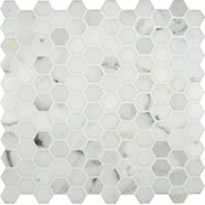 "Calacatta Gold Hexagon Mounted 1"" x 1"" Marble Mosaic in White"