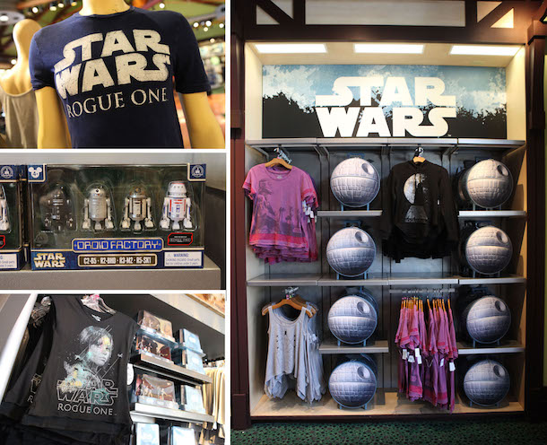 merchandise celebrating Rogue One: A Star Wars Story at Disney Parks