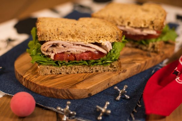Smoked Turkey, Tomato, and Lettuce on Multigrain Bread