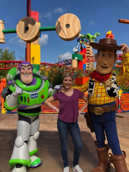 'Disney Channel Original Movie 'Freaky Friday' Star Cozi Zuehlsdorff meets Buzz Lightyear and Woody in Toy Story Land at Disney's Hollywood Studios