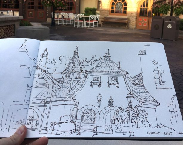 Sketches from the Park: Germany Pavilion at Epcot - Line Sketch