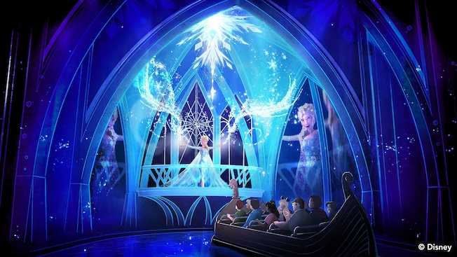 An artist's rendition of the attraction Frozen Ever After at Epcot