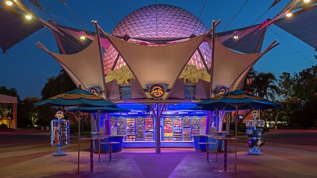 Outside the Pin Central shop for Disney pin traders at Epcot theme park