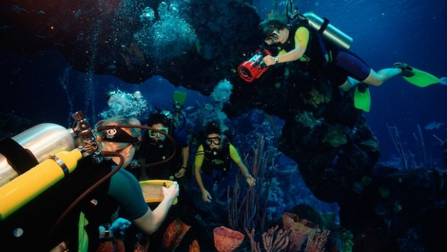 Guests clad in SCUBA diving equipment swim beneath a rock arch in a tropical underwater environment